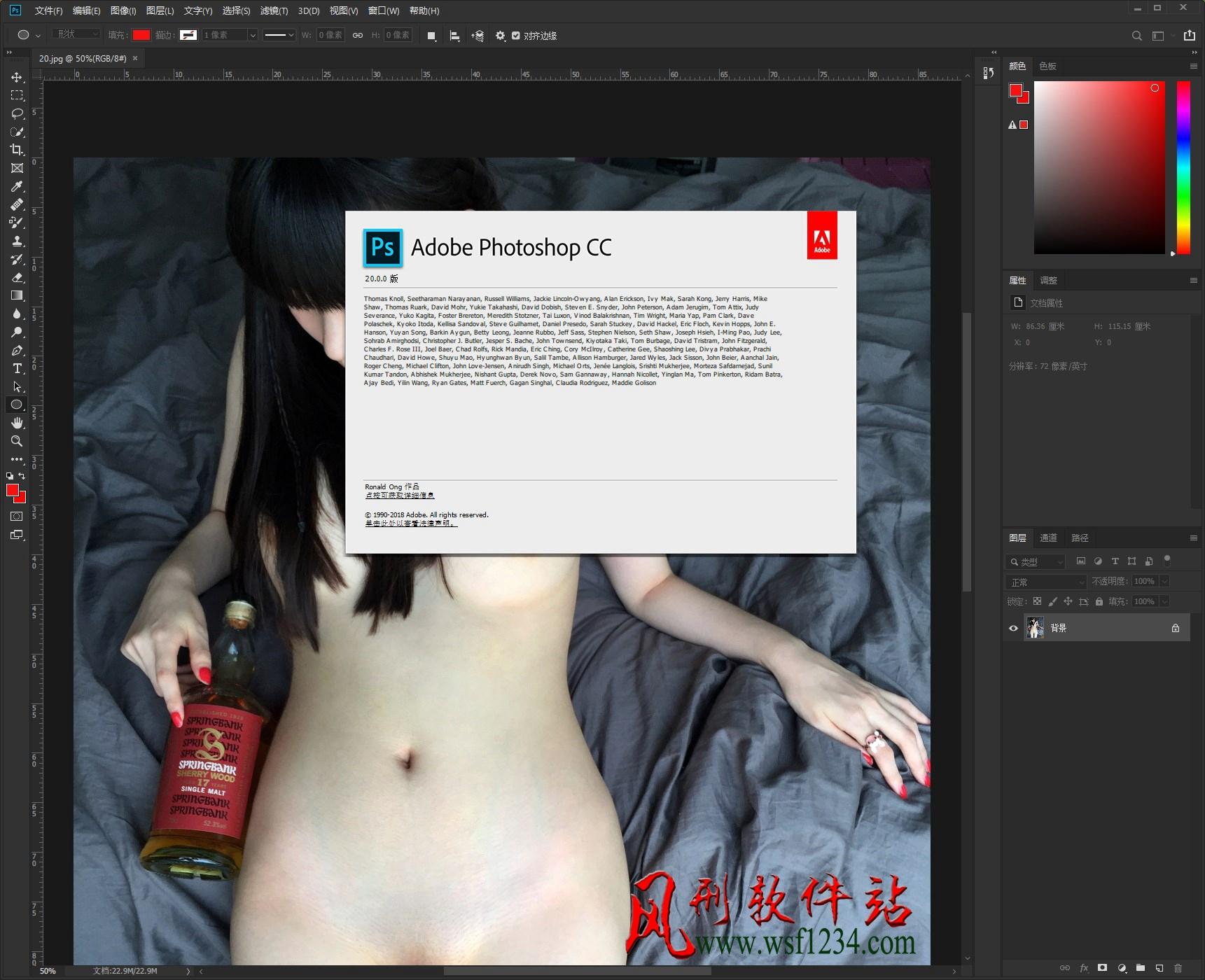 Adobe Photoshop CC 2019 20.0.3.24950 64位简体中文破解版-风刑软件站
