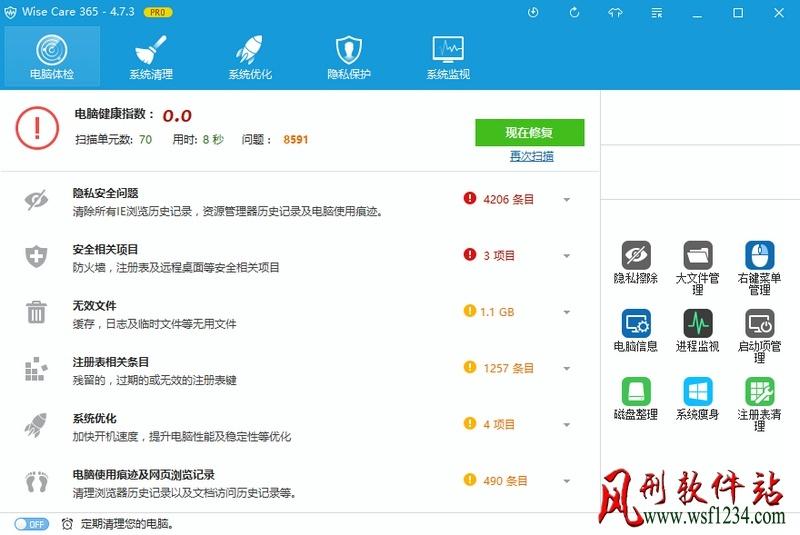 Wise Care 365 Pro v5.5.3.548 绿色破解版(集成授权码)-风刑软件站